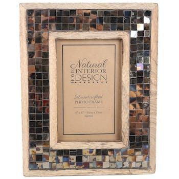 Cadre photo 10x15 en bois de Manguier décor Mozaic style Rétro 21x23cm