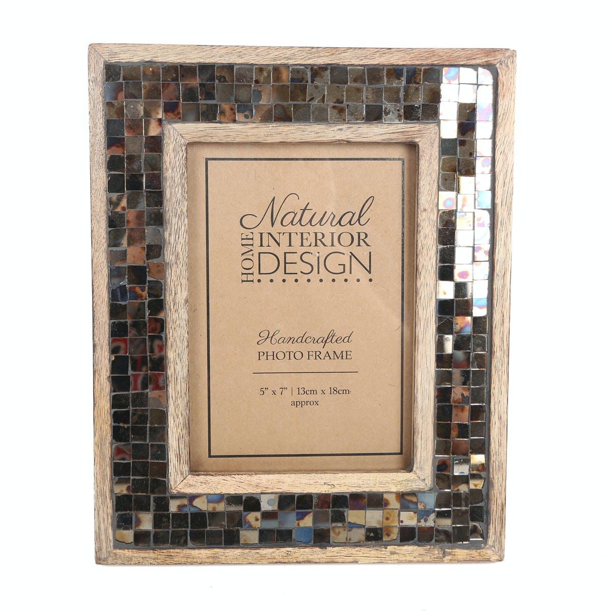 Cadre photo 13x18 en bois de Manguier décor Mozaic style Rétro 21x23cm