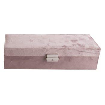 Boite à Bijoux compartimentée en bois et velours rose 28x10x7,5cm