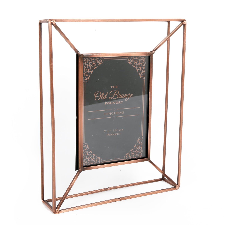 Cadre Photo 13x18 façon boîte en métal cuivré H27,5cm