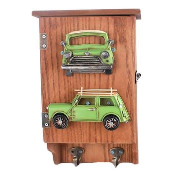 Boîte à clés en bois et métal décor Voiture verte, avec 2 patères 20x8x31cm