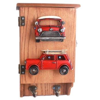 Boîte à clés en bois et métal décor Voiture rouge, avec 2 patères 20x8x31cm