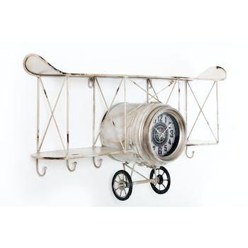Pendule murale Avion Etagère avec crochets en métal blanc cassé 67x18x37cm
