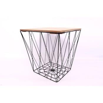 Table d'appoint carrée en fils de métal noir avec plateau bois H37cm