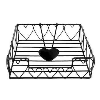 Porte-serviettes en métal noir forme c?urs 20x20cm