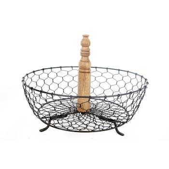 Panier rond en fil de fer et bois D30cm