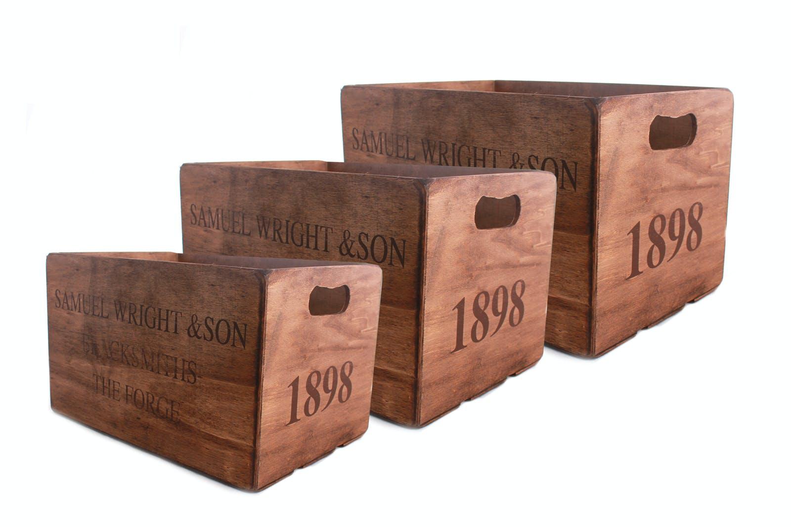 """Lot de 3 Caisses en bois """"Rustic 1898"""" 29x23x40cm"""