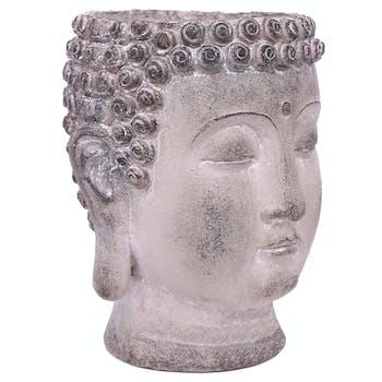 Tête de Bouddha Porte-Plante en résine effet vieilli H22cm