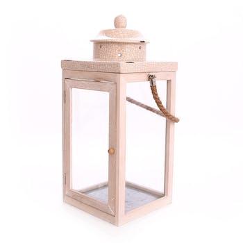 Lanterne H41cm en bois clair et top en céramique
