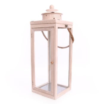 Lanterne H51cm en bois clair et top en céramique