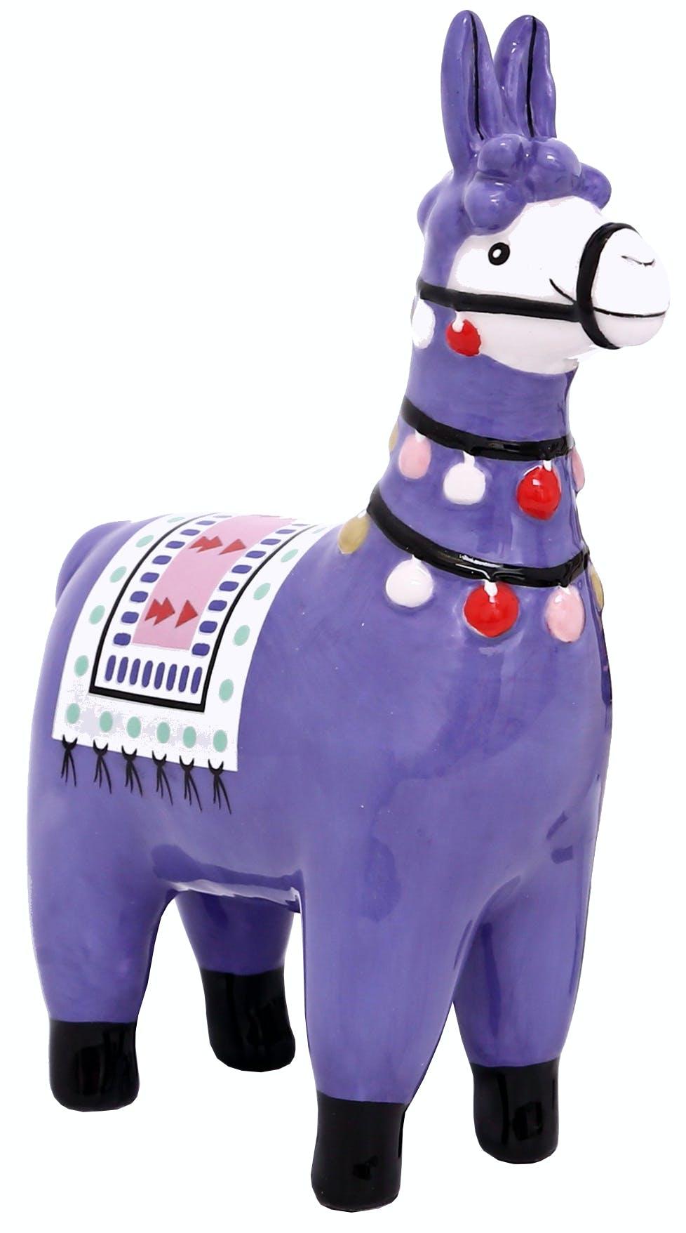 Lama déco H15cm en céramique bleue violet et décor multicolor
