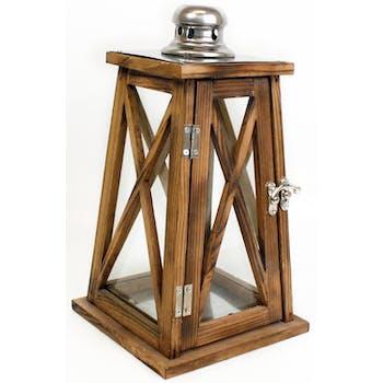 Lanterne fuselée en bois teinté et top en inox H30cm