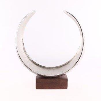 Photophore Cercle incurvé en aluminium et pied bois 26x10x23cm