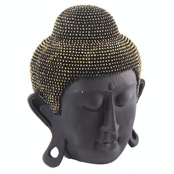 Tête de Bouddha en résine noire et doré H17cm