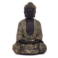 Bouddha de la méditation en résine noire et dorée H24cm
