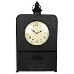 Horloge à poser façon gousset en métal noir vieilli avec tiroir de rangement H46cm