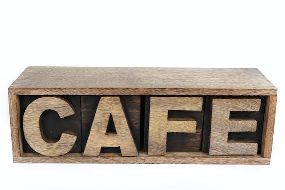"""Boite à Café """"Café"""" en bois de Manguier 33x10cm"""