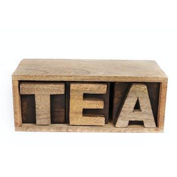 """Boite à Thé """"Tea"""" en bois de Manguier 26x10cm"""