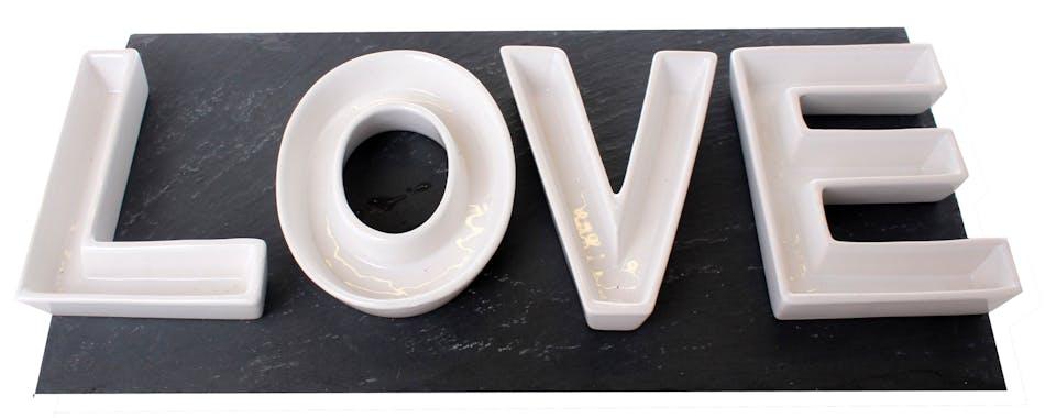"Coupelles mot ""Love"" en dolomite 10x13cm"