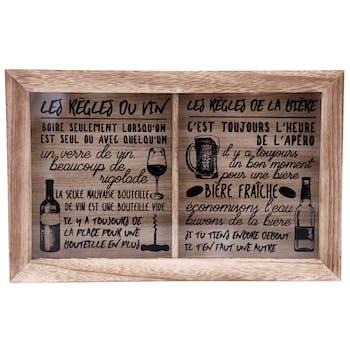 """Boite à bouchons compartimentée """"Vin"""" et """"Bière"""" en bois et verre 40x15cm"""