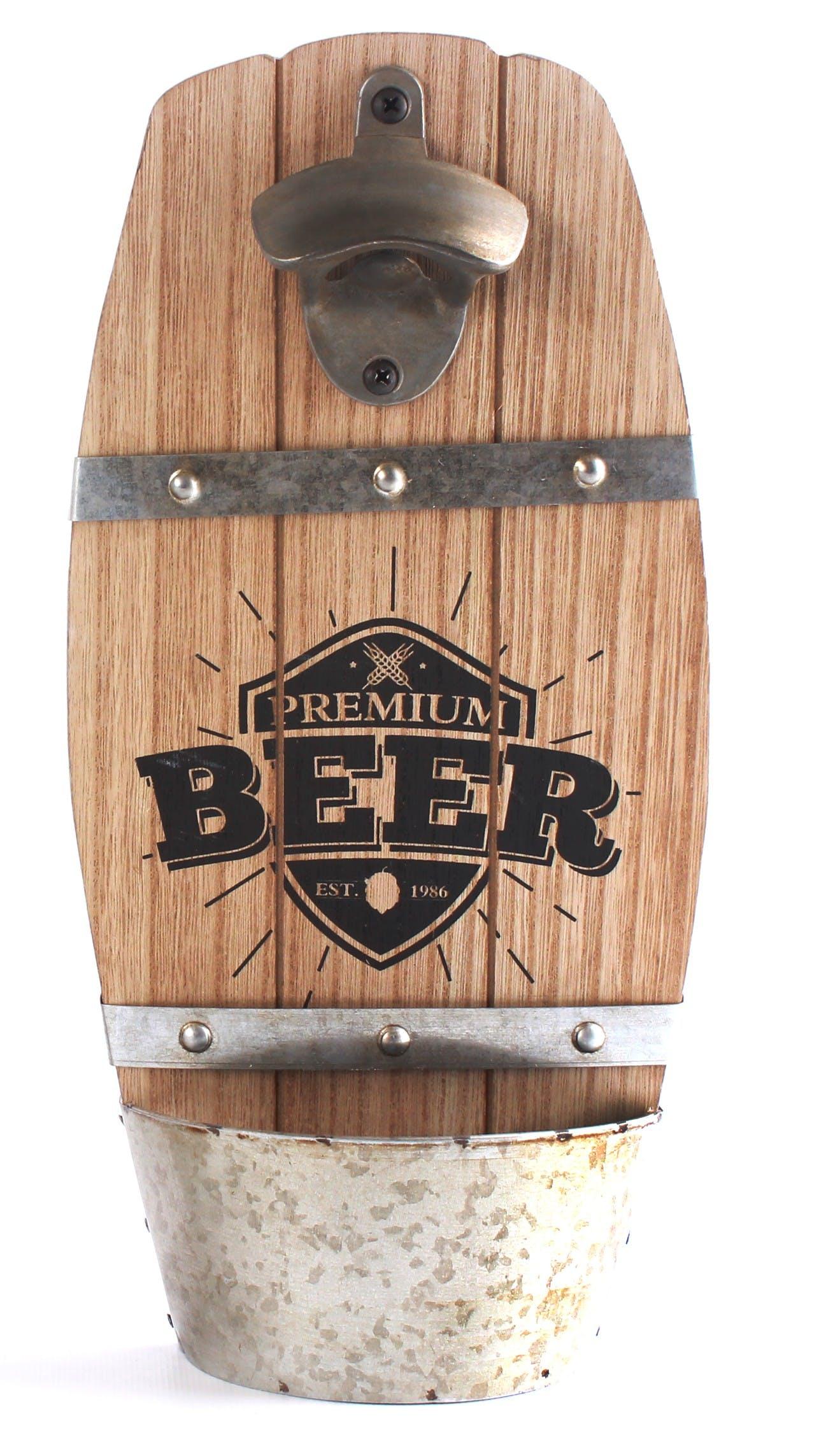 """Décapsuleur forme Tonneau """"Beer"""" en bois et métal H33cm"""