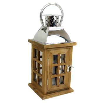 Lanterne Fenêtre en bois et top en inox H30cm