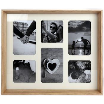 Pêle-Mêle 6 photos en bois façon plateau 39x33cm