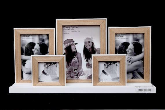 Pêle-mêle cadre 5 photos sur pieds en bois naturel et blanc 40cm