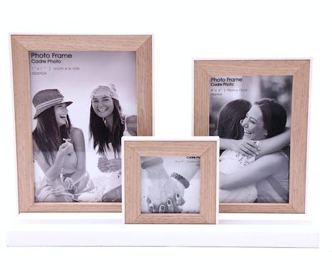 Pêle-mêle cadre 3 photos sur pieds en bois naturel et blanc 21cm