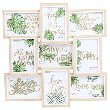 Pêle-Mêle 9 photos en bois clair décor végétal
