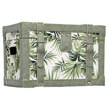 Malle décor Feuilles Tropicales en bois et tissu 40x24,5x26,5cm