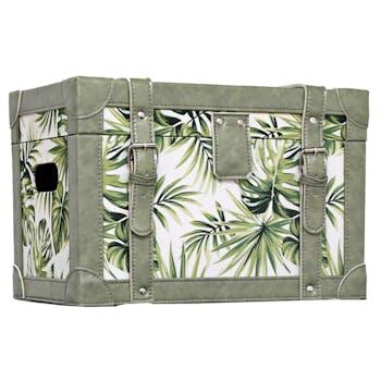 Malle décor Feuilles Tropicales en bois et tissu 59,5x39,5x40cm