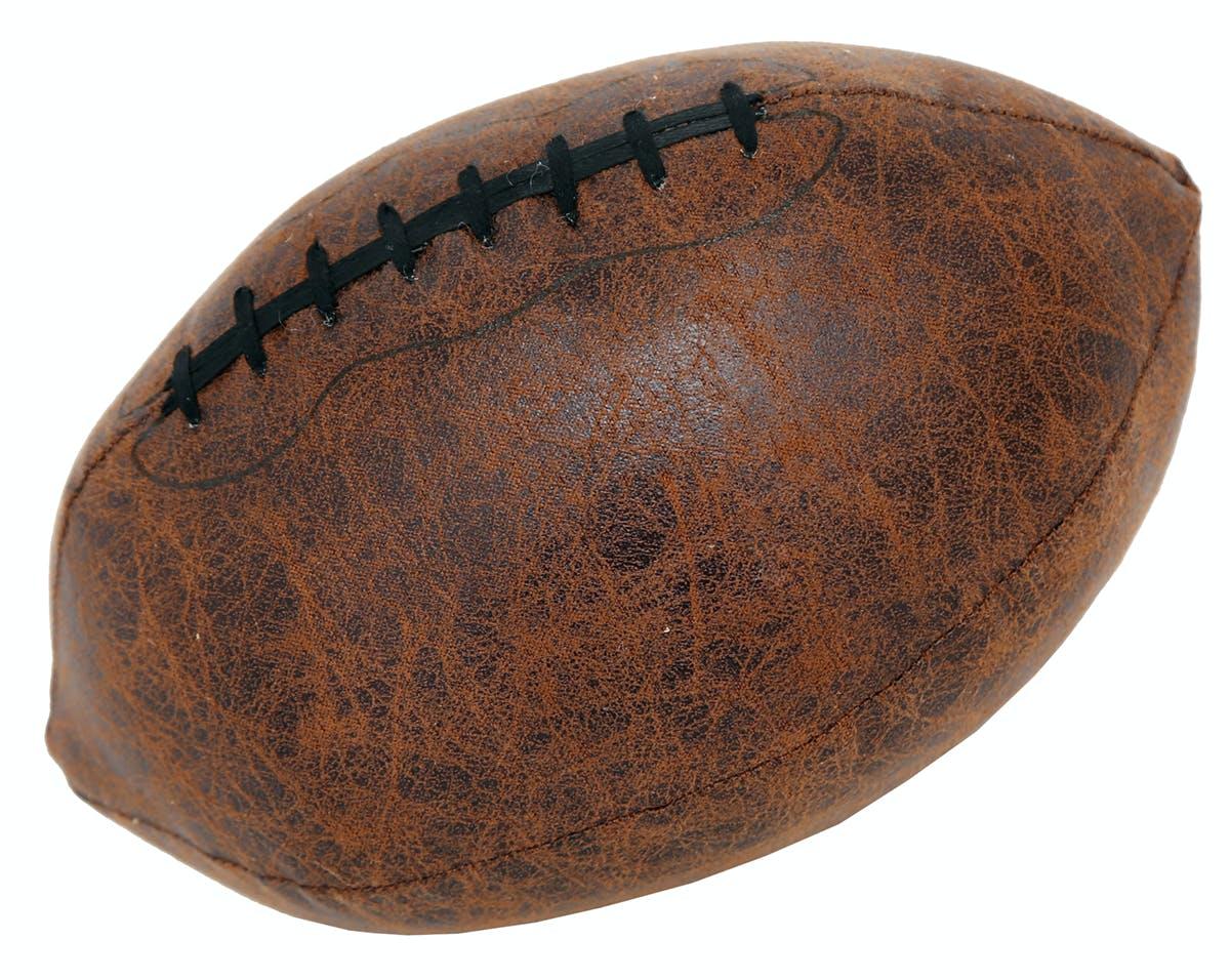 Bloc-Porte Ballon de Rugby en tissu façon simili vieilli 22x14cm