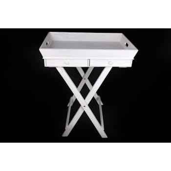 Plateau Table d'appoint en bois blanc avec 2 tiroirs H73cm