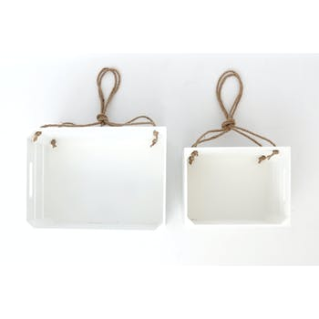 Lot de 2 Etagères en bois blanc et corde à suspendre 33x18x24cm