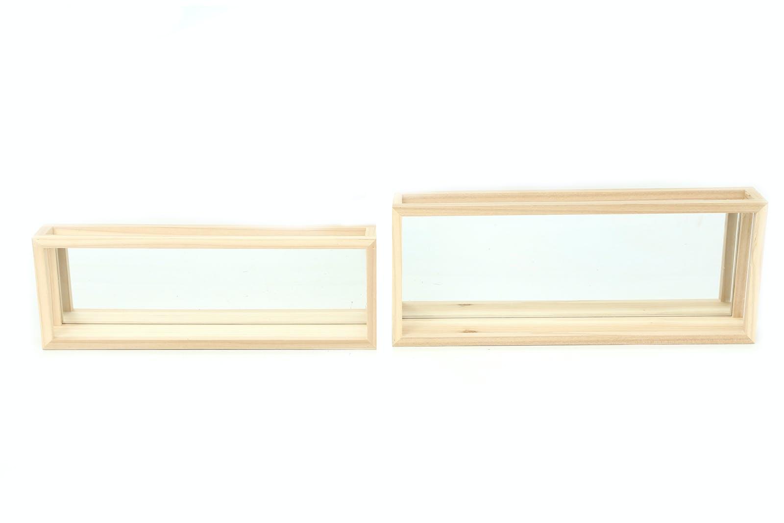 Lot de 2 étagères murales miroir en pin couleur naturelle 50x20cm