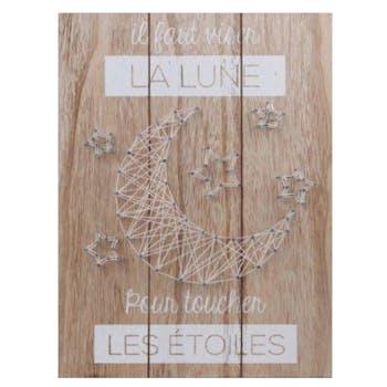 """Plaque déco """"La Lune et les Etoiles"""" en bois et métal 30x40cm"""