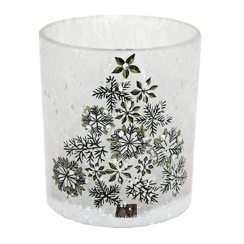 Photophore verre blanc décor Sapin réf. 30021876