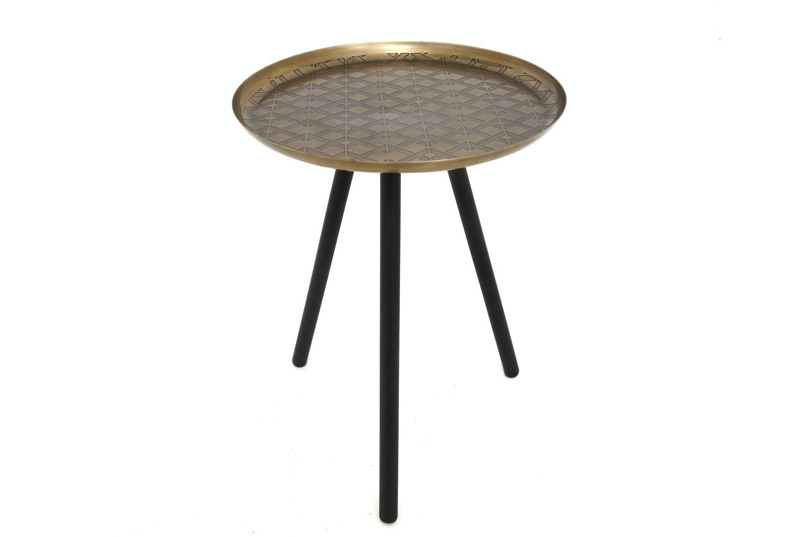 Bout de canapé métal doré et noir 3 pieds D31xH40cm