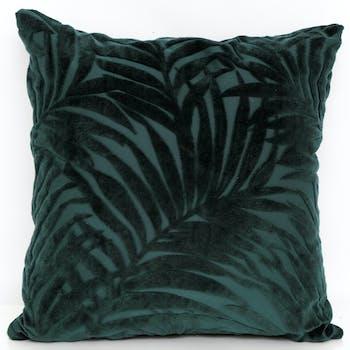Coussin carré vert velours feuillage 45x45cm