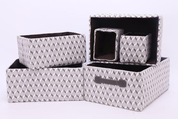 Lot de 6 paniers rangement tissu motifs géométriques