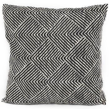Coussin noir et blanc carré motifs géométriques