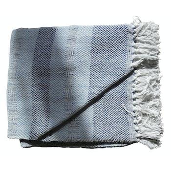 Plaid bleu chiné à franges 130x170cm