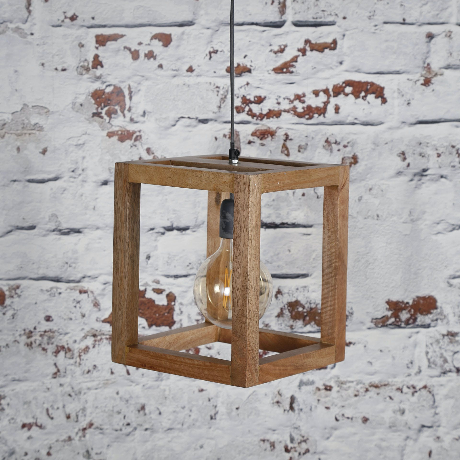 Suspension contemporaine cadre bois de manguier 1 lampe DELHI