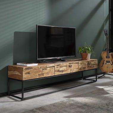 Meuble tv bois massif d'acacia sablé 3 tiroirs PERTH