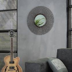 Miroir soleil contemporain rond moucheté cuivre
