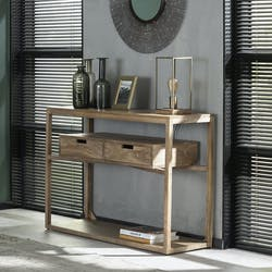 Console bois contemporaine 2 tiroirs suspendus DELHI
