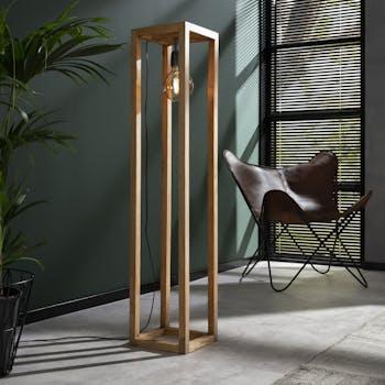 Lampadaire contemporain cadre bois de manguier 1 lampe DELHI