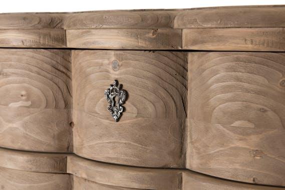 Commode bois recyclé romantique 3 tiroirs BRUGES