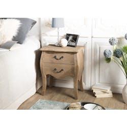 Table de chevet bois recyclé romantique 2 tiroirs BRUGES